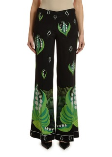 Valentino Lily of the Valley Print Crepe Pajama Pants