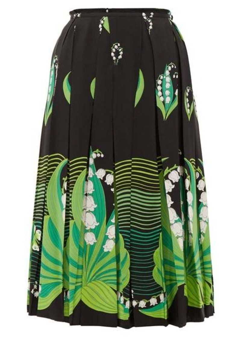 Valentino Lily of the Valley-print pleated silk skirt