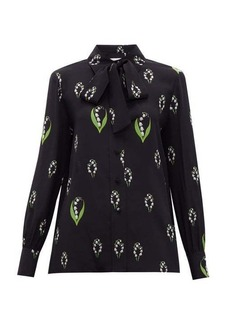 Valentino Lily of the valley-print pussy-bow silk blouse