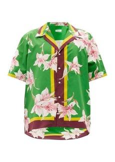 Valentino Lily-print cotton-poplin shirt