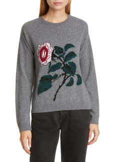 Valentino Lip & Rose Intarsia Wool & Cashmere Sweater