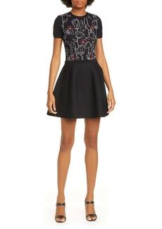 Valentino Lip & Rose Jacquard Sweater Dress