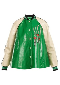 Valentino Lipstick-appliqué contrast-sleeve leather jacket