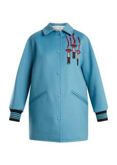 Valentino Lipstick-appliqué wool-blend jacket