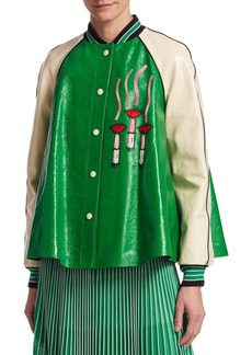 Valentino Lipstick Logo Trapeze Leather Jacket