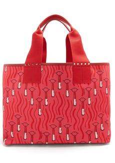 Valentino Lipstick-print canvas tote bag
