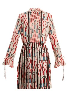 Valentino Lipstick-print lace-trimmed silk dress