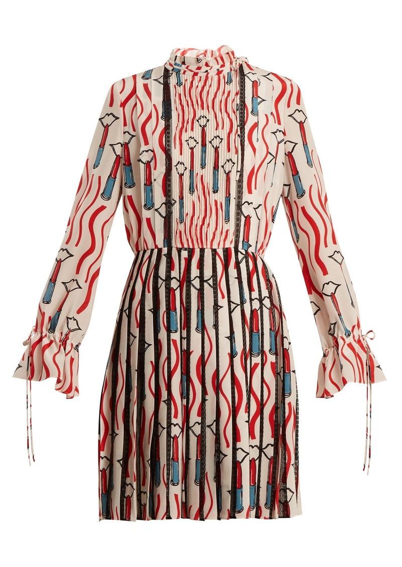 Valentino Lipstick-print lace-trimmed silk dress