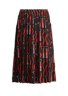 Valentino Lipstick-print silk-crepe midi skirt