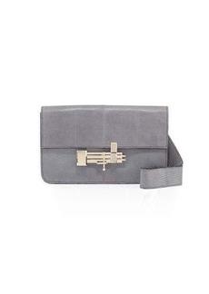 Valentino Lizard-Embossed Flap Shoulder Bag