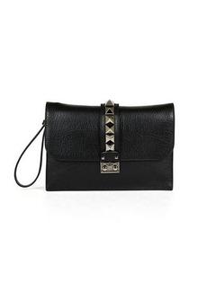 Valentino Lock Grained Large Wristlet Clutch Bag