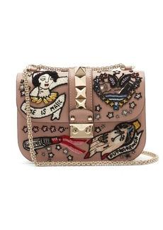 Valentino Lock small embellished leather shoulder bag