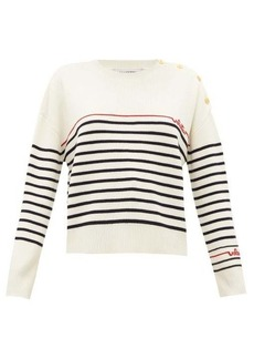 Valentino Beaded-logo striped wool sweater