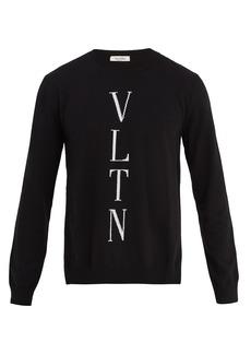 Valentino Logo-instarsia wool-blend sweater