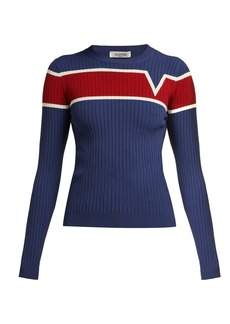 Valentino Logo-intarsia ribbed-knit sweater