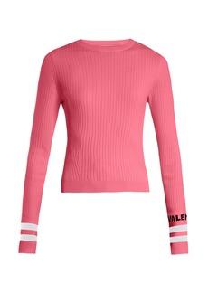 Valentino Logo-intarsia striped stretch-knit sweater