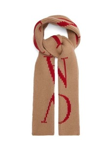 Valentino Logo-intarsia wool-blend scarf