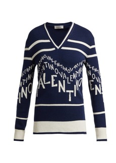Valentino Logo-intarsia wool-blend sweater