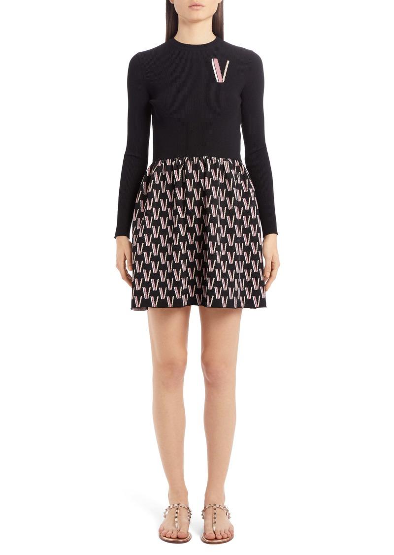 Valentino Logo Jacquard Long Sleeve Sweater Minidress