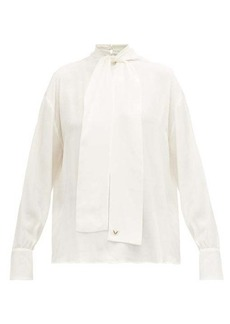 Valentino Logo-jacquard pussy-bow silk blouse