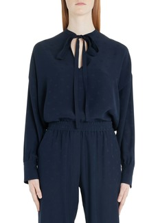 Valentino Logo Jacquard Tie Neck Silk Satin Blouse