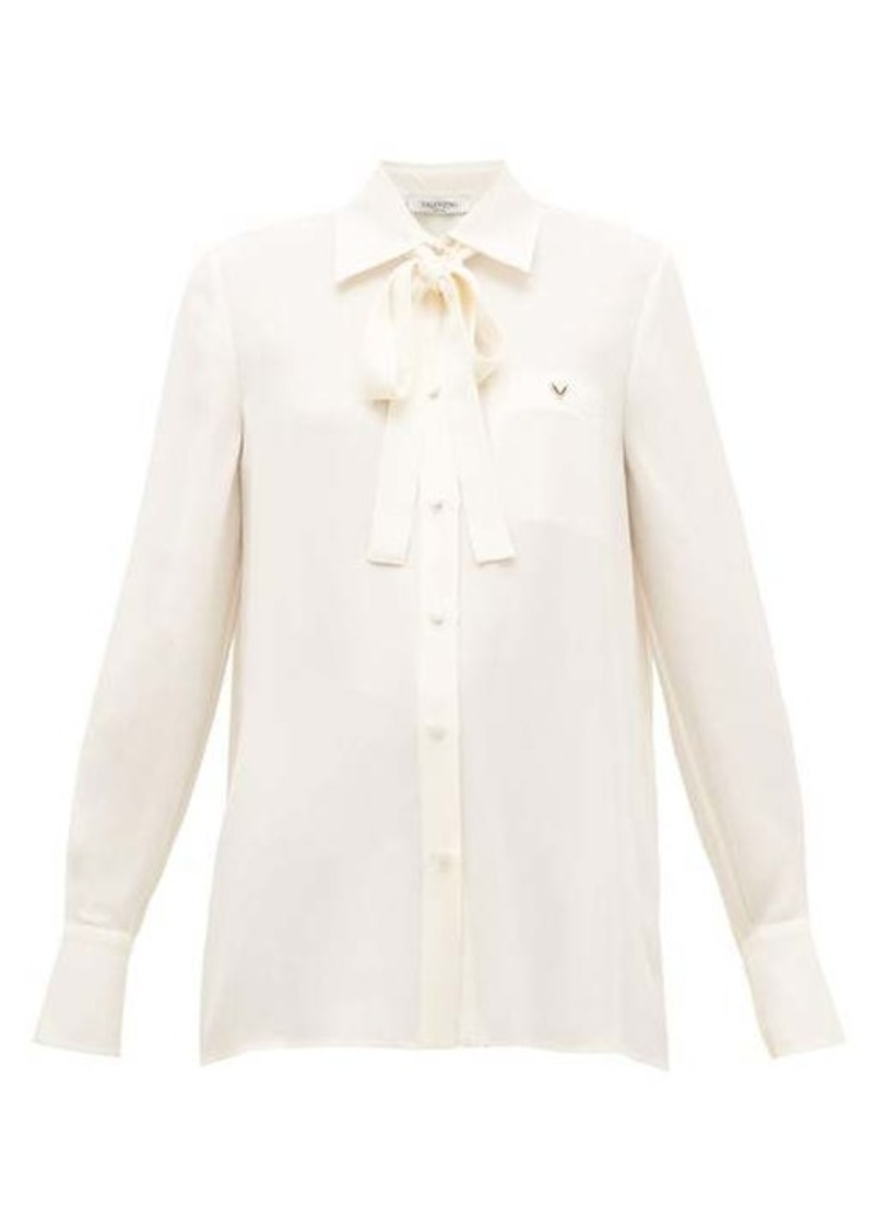 Valentino Logo-plaque pussy-bow silk blouse
