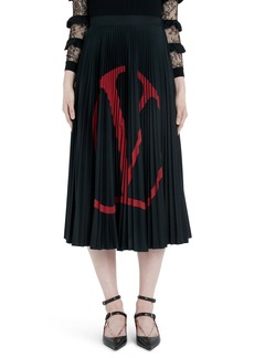 Valentino Logo Pleated Jersey Midi Skirt