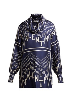 Valentino Logo-print cowl neck silk-satin blouse