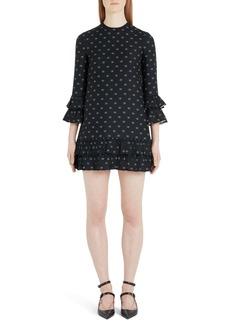 Valentino Logo Print Ruffle Trim Wool & Silk Minidress