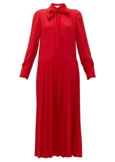 Valentino Logo-print tie-neck pleated silk dress