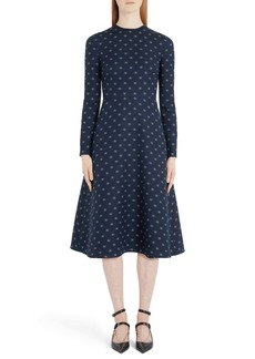 Valentino Logo Print Wool & Silk Midi Dress