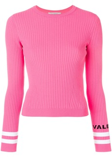 Valentino ribbed logo cuff top - Pink & Purple