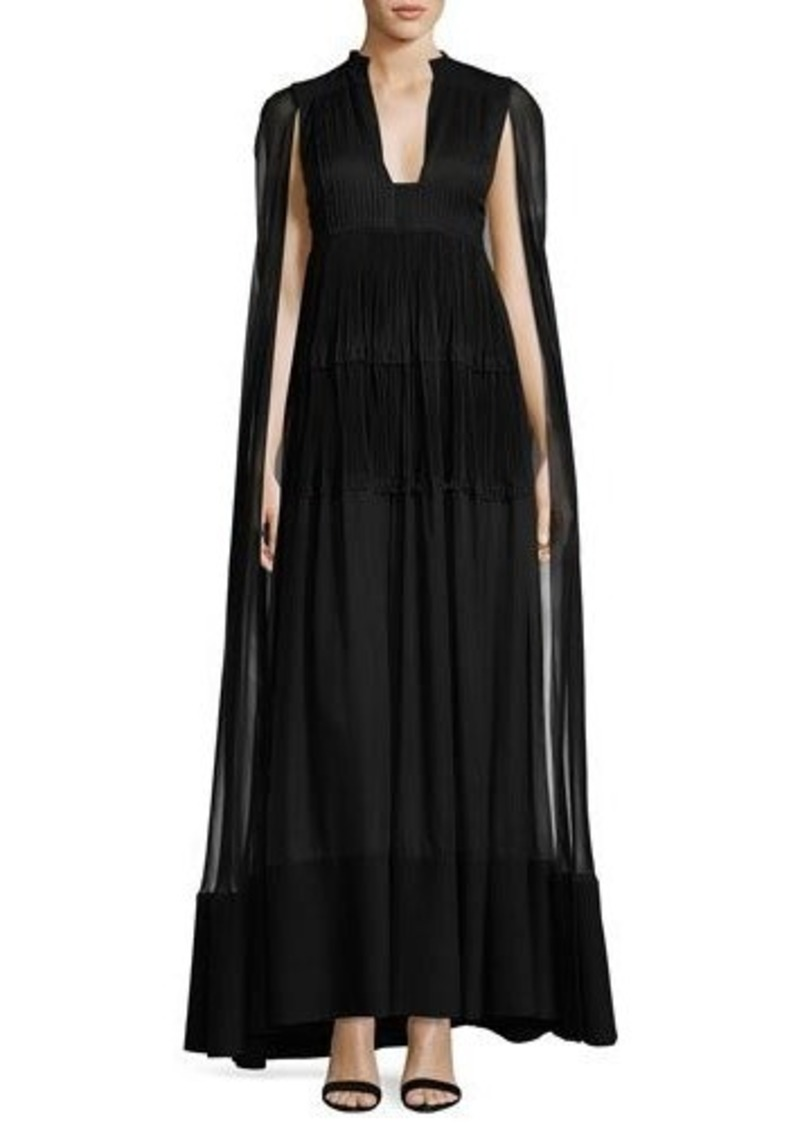 Valentino Valentino Long Cape-Sleeve V-Neck Evening Gown | Dresses