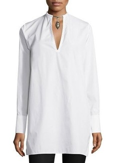 Valentino Long-Sleeve Blouse W/Warrior Necklace
