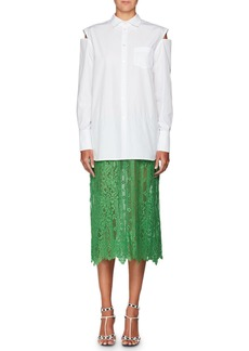 Valentino Long-Sleeve Button-Front Poplin Shirt with Attached Lace Skirt
