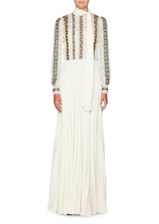 Long-Sleeve Embroidered Chiffon Dress with Pleated Cady Skirt