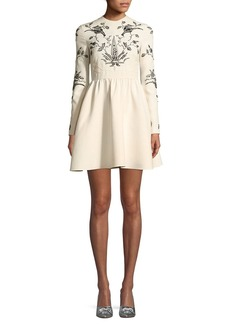 Valentino Long-Sleeve Fit-and-Flare Mini Cocktail Dress with Lace Trim