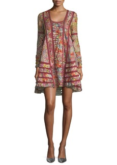 Valentino Long-Sleeve Floral Eyelet Lace A-Line Dress