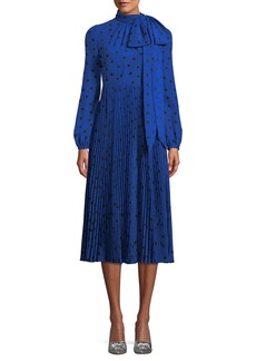 Valentino Long-Sleeve Heart-Print Dress w/ Bow