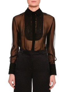 Valentino Long-Sleeve Lace-Trim Chiffon Blouse
