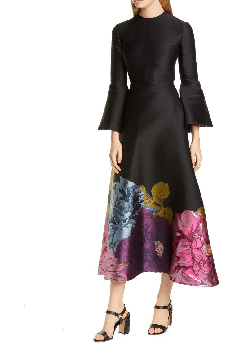 Valentino Long Sleeve Metallic Floral Brocade Tea Length Dress