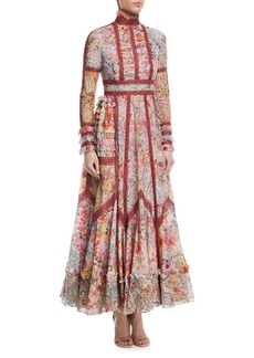 Valentino Long-Sleeve Mock-Neck Floral Gown w/ Lace