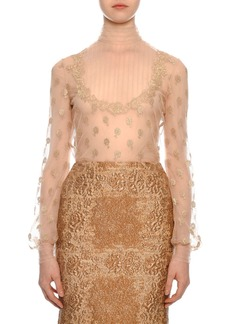 Valentino Long-Sleeve Mock-Neck Point D'esprit Lace Blouse