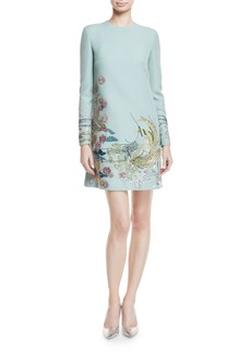 Long-Sleeve Ocean-Embellished Crepe Couture Cocktail Dress