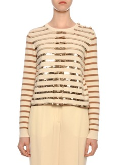 Valentino Long-Sleeve Paillette-Ribbon Embroidered Cashmere Sweater