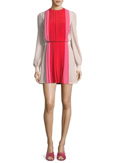 Valentino Long-Sleeve Pleated Crepe de Chine Colorblock Mini Dress