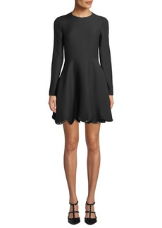 Valentino Long Sleeve Rockstud Scalloped-Hem Flare Dress