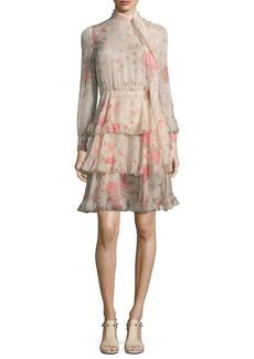 Valentino Long-Sleeve Rose-Print Chiffon Dress