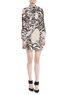 Valentino Long-Sleeve Short Tiger-Print Dress in Georgette Silk