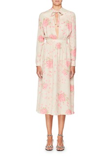 Valentino Long-Sleeve Tie-Neck Silk Georgette Rose-Print Ankle-Length Dress